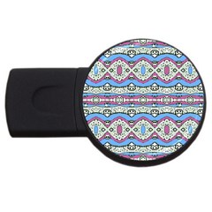 Aztec Style Pattern In Pastel Colors 4gb Usb Flash Drive (round) by dflcprints