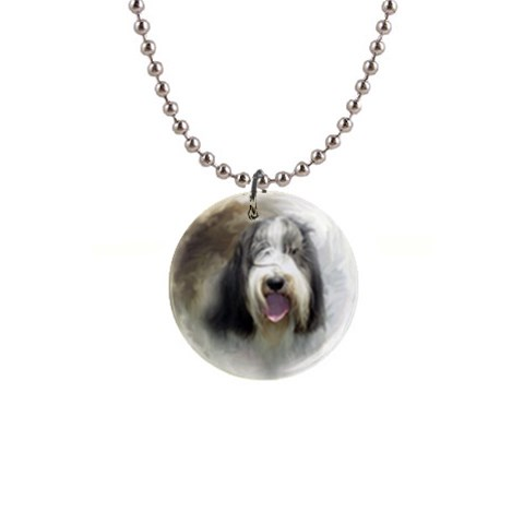 Moon Dog 01 By Nicole   1  Button Necklace   15zx8ow4nd2x   Www Artscow Com Front