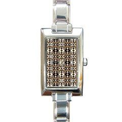 Geometric Tribal Style Pattern In Brown Colors Scarf Rectangular Italian Charm Watch by dflcprints