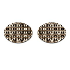 Geometric Tribal Style Pattern In Brown Colors Scarf Cufflinks (oval) by dflcprints