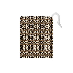 Geometric Tribal Style Pattern In Brown Colors Scarf Drawstring Pouch (small) by dflcprints