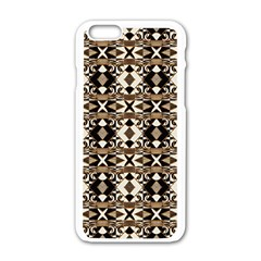 Geometric Tribal Style Pattern In Brown Colors Scarf Apple Iphone 6 White Enamel Case by dflcprints