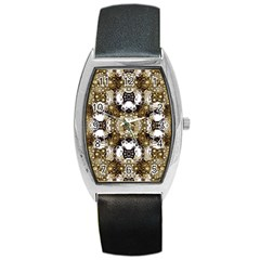 Baroque Ornament Pattern Print Tonneau Leather Watch by dflcprints