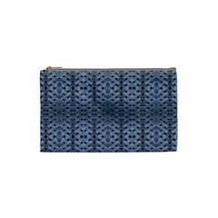 Futuristic Geometric Pattern Design Print In Blue Tones Cosmetic Bag (small) by dflcprints