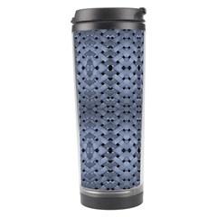 Futuristic Geometric Pattern Design Print In Blue Tones Travel Tumbler by dflcprints