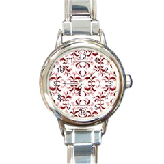 Floral Print Modern Pattern In Red And White Tones Round Italian Charm Watch by dflcprints