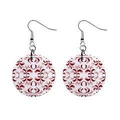 Floral Print Modern Pattern In Red And White Tones Mini Button Earrings by dflcprints