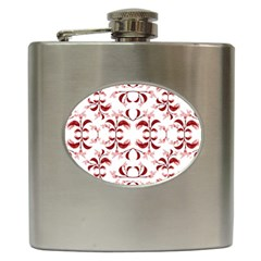 Floral Print Modern Pattern In Red And White Tones Hip Flask by dflcprints