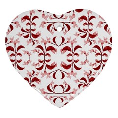 Floral Print Modern Pattern In Red And White Tones Heart Ornament (two Sides) by dflcprints
