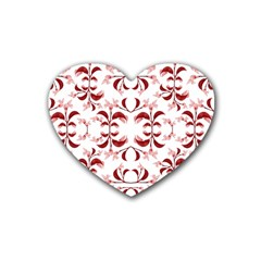Floral Print Modern Pattern In Red And White Tones Drink Coasters (heart) by dflcprints