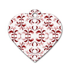 Floral Print Modern Pattern In Red And White Tones Dog Tag Heart (two Sided) by dflcprints