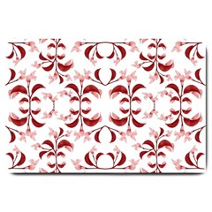 Floral Print Modern Pattern In Red And White Tones Large Door Mat by dflcprints