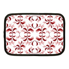 Floral Print Modern Pattern In Red And White Tones Netbook Sleeve (medium) by dflcprints