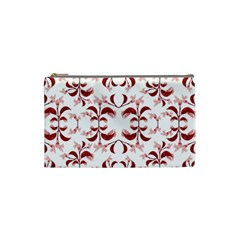 Floral Print Modern Pattern In Red And White Tones Cosmetic Bag (small) by dflcprints