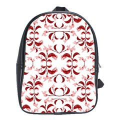 Floral Print Modern Pattern In Red And White Tones School Bag (large) by dflcprints