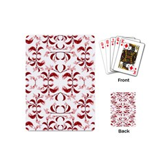 Floral Print Modern Pattern In Red And White Tones Playing Cards (mini) by dflcprints