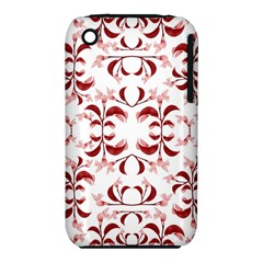 Floral Print Modern Pattern In Red And White Tones Apple Iphone 3g/3gs Hardshell Case (pc+silicone) by dflcprints