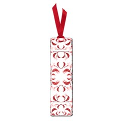 Floral Print Modern Pattern In Red And White Tones Small Bookmark by dflcprints