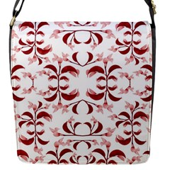 Floral Print Modern Pattern in Red and White Tones Flap Closure Messenger Bag (Small) by dflcprints