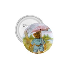 Vintage Drawing: Teddy Bear In The Rain 1 75  Button by MotherGoose