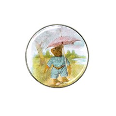Vintage Drawing: Teddy Bear In The Rain Golf Ball Marker (for Hat Clip) by MotherGoose