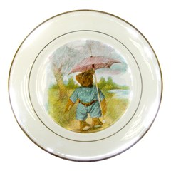 Vintage Drawing: Teddy Bear In The Rain Porcelain Display Plate by MotherGoose