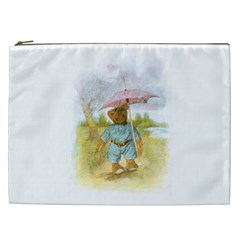 Vintage Drawing: Teddy Bear In The Rain Cosmetic Bag (xxl) by MotherGoose