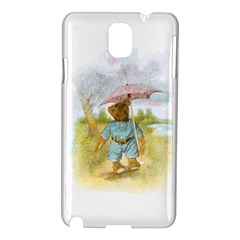 Vintage Drawing: Teddy Bear In The Rain Samsung Galaxy Note 3 N9005 Hardshell Case by MotherGoose