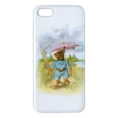 Vintage Drawing: Teddy Bear In The Rain Iphone 5s Premium Hardshell Case by MotherGoose