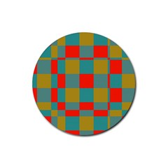 Squares In Retro Colors Rubber Coaster (round) by LalyLauraFLM