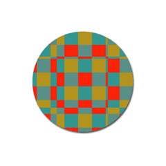 Squares In Retro Colors Magnet 3  (round) by LalyLauraFLM