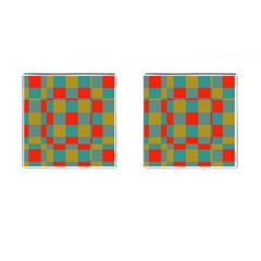 Squares in retro colors Cufflinks (Square) by LalyLauraFLM