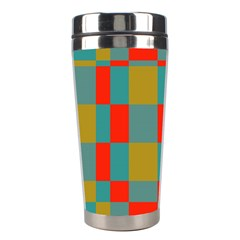 Squares In Retro Colors Stainless Steel Travel Tumbler by LalyLauraFLM