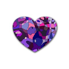 Blue Purple Chaos Rubber Coaster (heart) by LalyLauraFLM