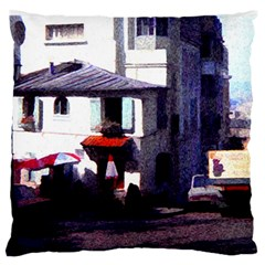 Vintage Paris Cafe Standard Flano Cushion Case (One Side) by bloomingvinedesign