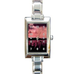 7 Geese At Sunset Rectangular Italian Charm Watch by bloomingvinedesign