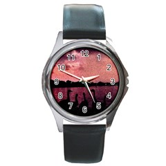7 Geese At Sunset Round Leather Watch (silver Rim) by bloomingvinedesign