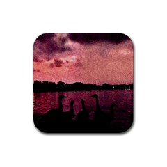7 Geese At Sunset Drink Coaster (square) by bloomingvinedesign