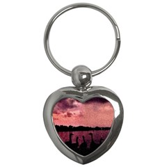 7 Geese At Sunset Key Chain (heart) by bloomingvinedesign
