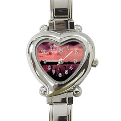 7 Geese At Sunset Heart Italian Charm Watch  by bloomingvinedesign