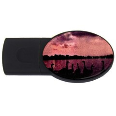 7 Geese At Sunset 4gb Usb Flash Drive (oval) by bloomingvinedesign