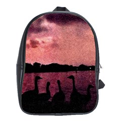 7 Geese At Sunset School Bag (large) by bloomingvinedesign