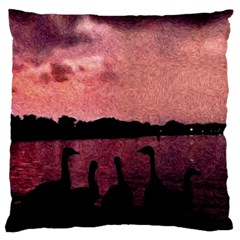 7 Geese At Sunset Large Cushion Case (single Sided)  by bloomingvinedesign