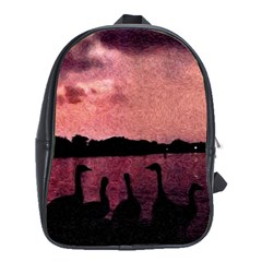 7 Geese At Sunset School Bag (xl) by bloomingvinedesign