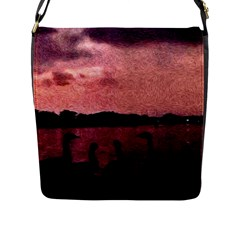 7 Geese At Sunset Flap Closure Messenger Bag (large) by bloomingvinedesign
