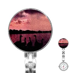 7 Geese At Sunset Stainless Steel Nurses Watch by bloomingvinedesign