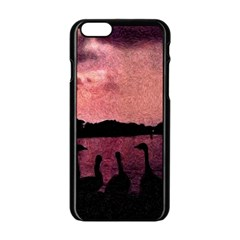 7 Geese At Sunset Apple Iphone 6 Black Enamel Case by bloomingvinedesign