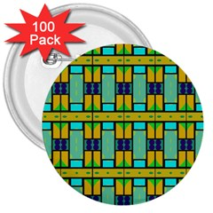 Different Shapes Pattern 3  Button (100 Pack) by LalyLauraFLM
