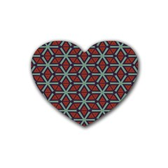 Cubes Pattern Abstract Design Heart Coaster (4 Pack) by LalyLauraFLM