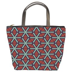 Cubes Pattern Abstract Design Bucket Bag by LalyLauraFLM